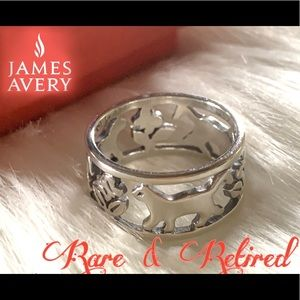 James Avery RETIRED rare cat band ring sz 6